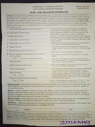 機場入境簽證表格流程,美國,關島入境簽證流程,關島旅遊,關島自由行 @傑菲亞娃JEFFIA FANG